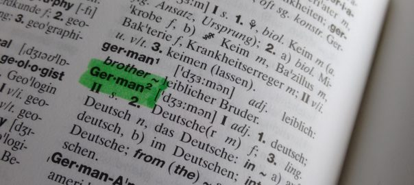 A page from a dictionary showing the headword German